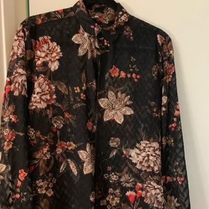 Zara Shirts - Floral print shear shirt